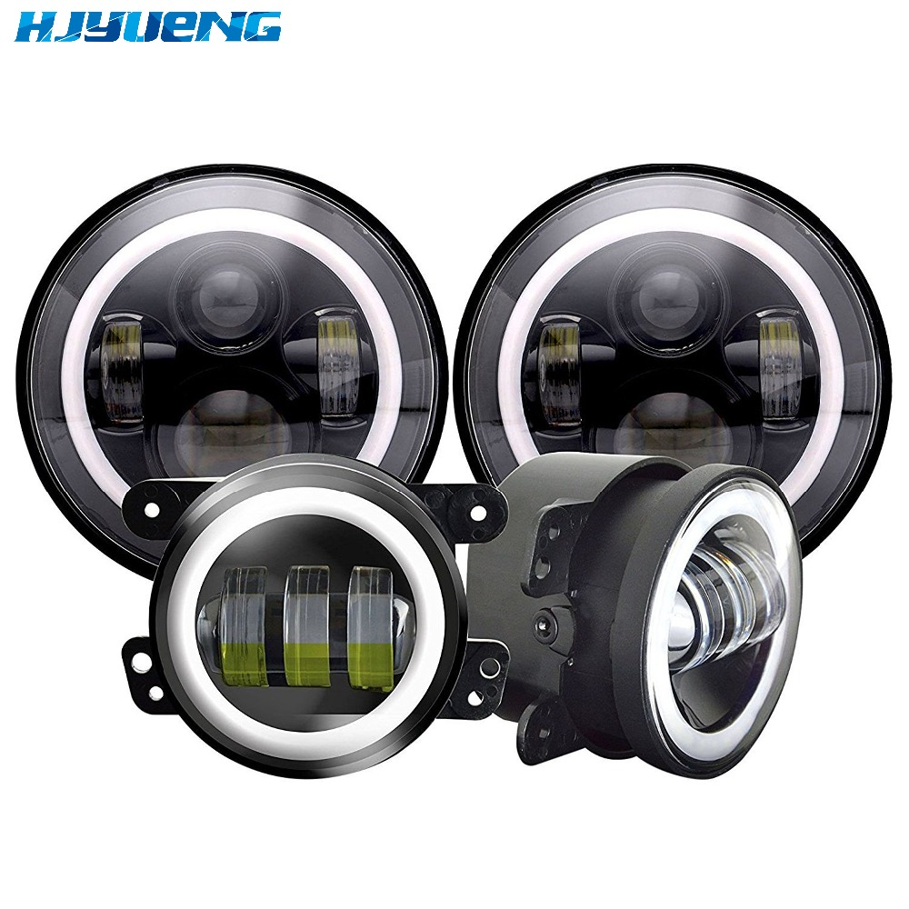 HJYUENG 45w For Jeep Wrangler JK LJ Tj CJ 7inch DOT LED Headlights White DRL/Amber Turn Signal+4 inch LED Fog Lights White DRL 7 led halo headlights for jeep wrangler jk jku tj lj rubicon sahara unlimited white drl amber turn signal 4 halo fog light