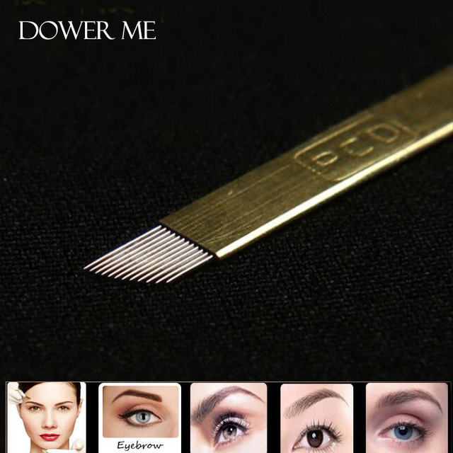 50pcs/100pcs Lamina Agulhas Tebori Microblading 12 pin Hard PCD Needle 14  19 U Blade Permanent Makeup Eyebrow Tattoo Needles 1