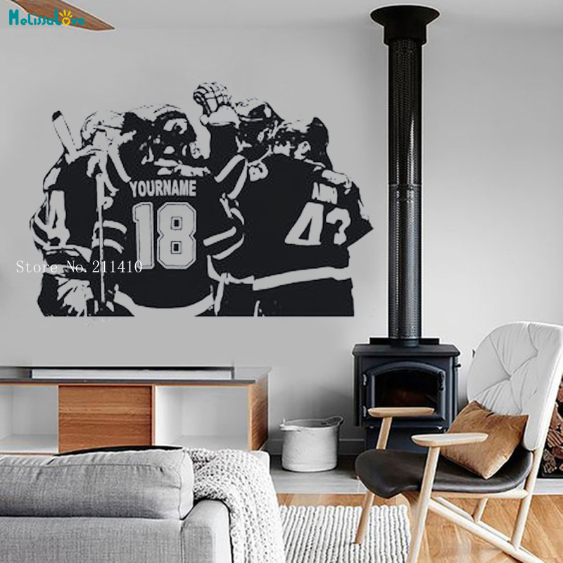 Hockey Wall Decal Large Decal Custom Name Decal Boys: Hockey Player Team Personalized Custom Name And Number