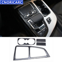 CNORICARC For Audi Q7 Carbon Fiber Interior Gearshift Decoration Frame Car Accessories Console Armrest Water Cup Panel Trim