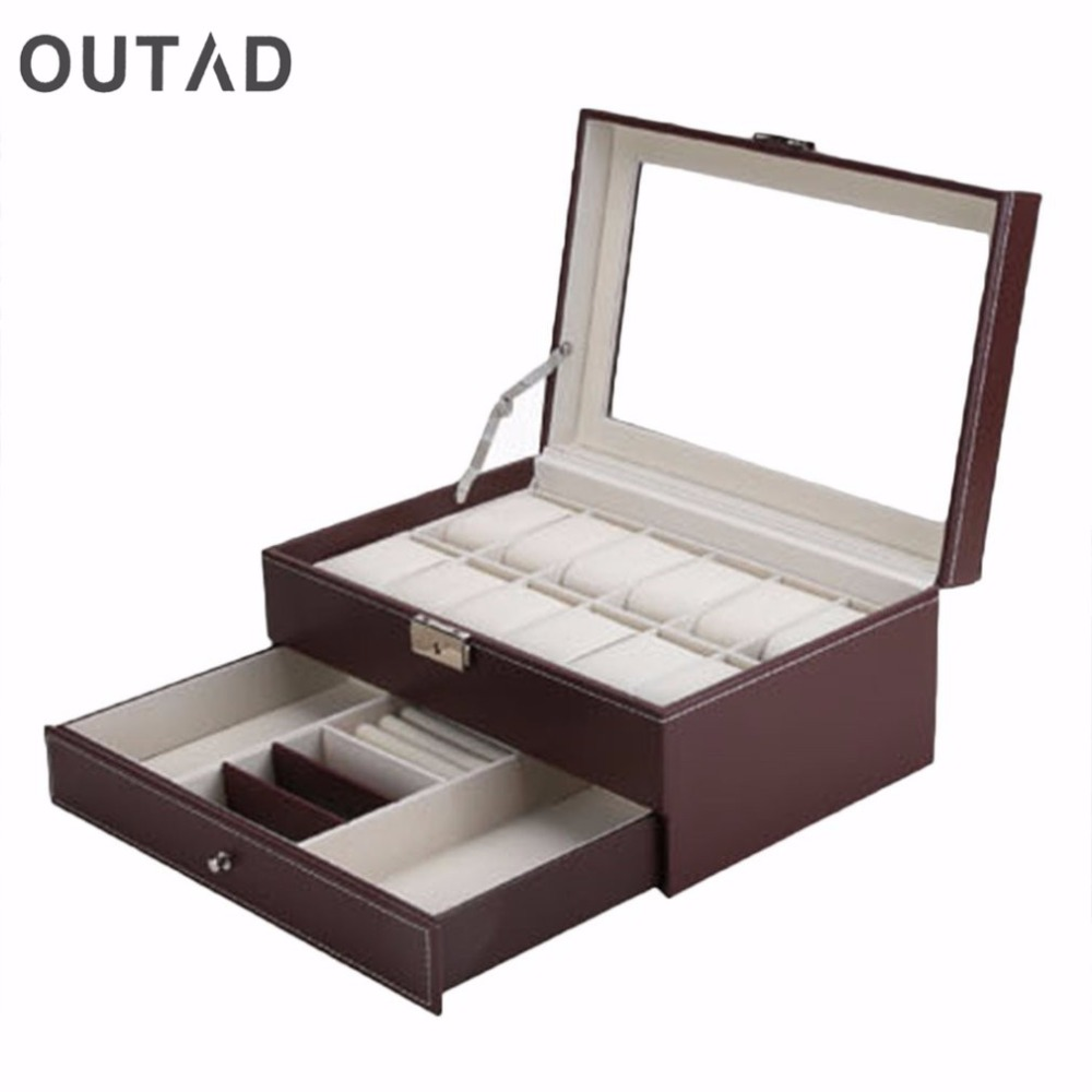 OUTAD 12 Grids Slots Double Layers Watch Boxes PU Leather jewelry Display Storage Case Watch Organizer Box Holder Winder relogio free shipping khaki 12 grids pu watch box brand watch display watch box watch storage boxes rectangle gold pillow gift box w029