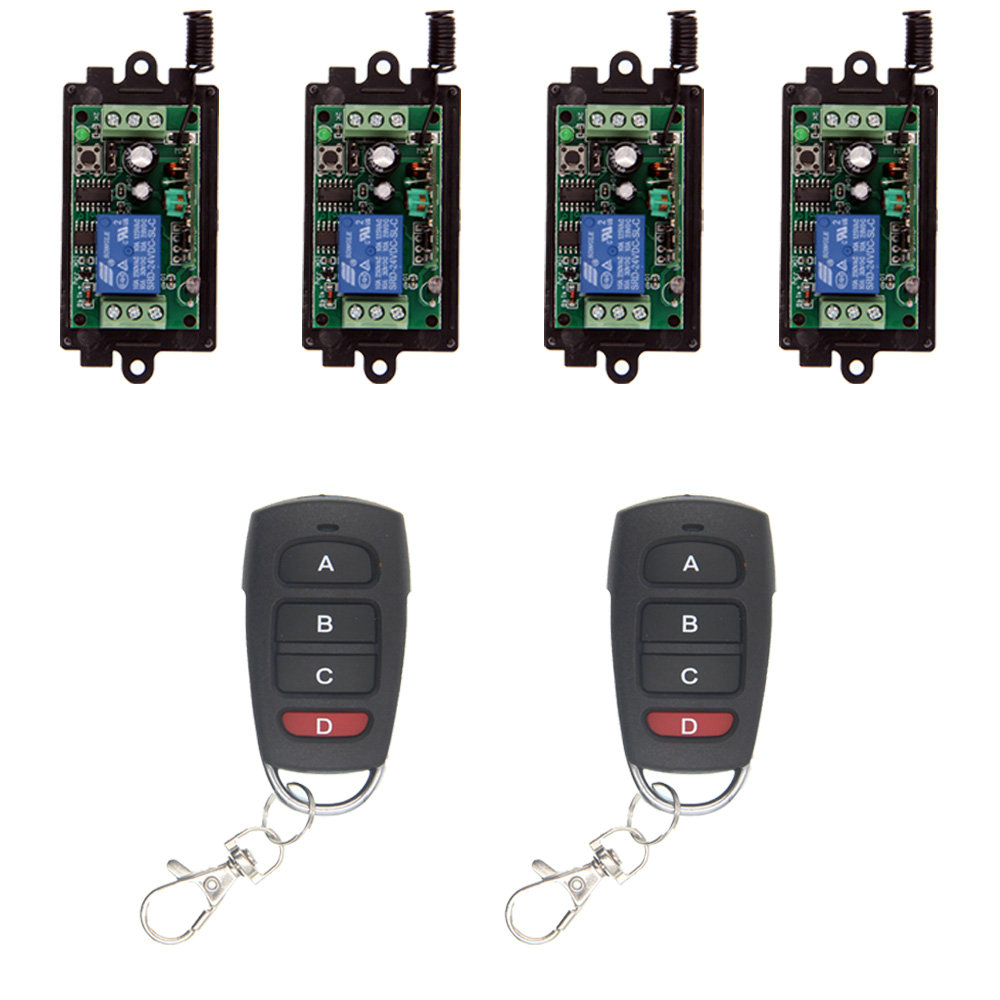 цена на Wireless Remote Control Switch 315 433 MHz DC 9V 12V 24V Module + 1CH 4 CH Button RF Remote Control For Light and Door