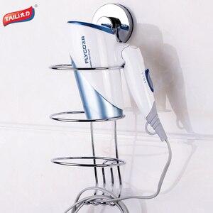 Image 2 - Soporte para secador de pelo cromado, sin perforación, gancho de succión fuerte