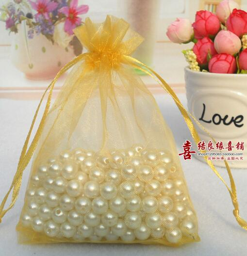 Free Shipping 100 Pcs Organza Wedding Favour Bags Jewellery Pouches Gold For Gift 7x9cm