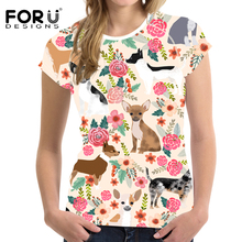 FORUDESIGNS Chihuahua Flowers Printing Women T Shirt Ladies Funny Tee Fresh Style for Teen Girls Kawaii Puppy T-shirt Tops