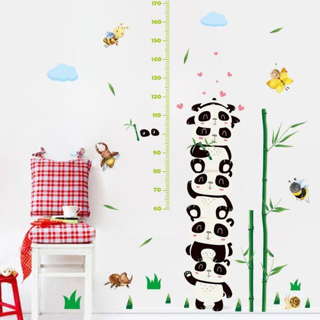 Super Cute Panda Bamboo Child Height Wall Sticker Lovely Cartoon