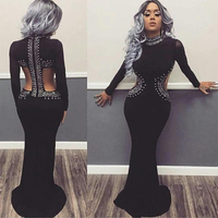 2017 Newest Summer Bandage Dress Women Celebrity Party Black Long Sleeve Beading Sexy Backless Maxi Dress