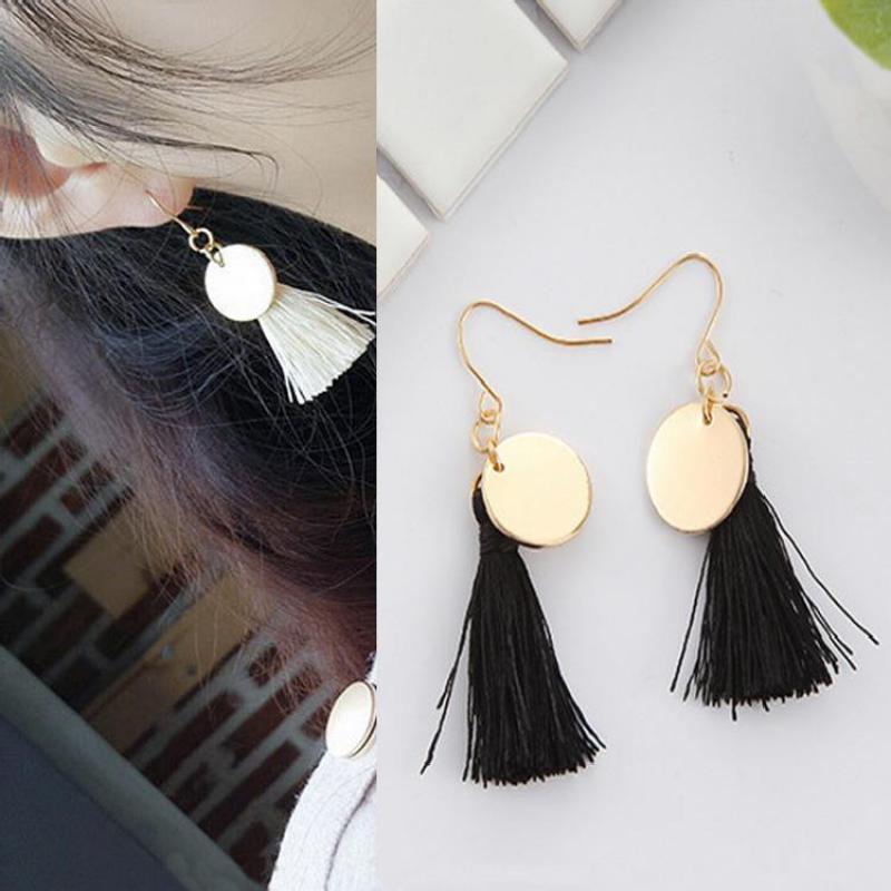 Korean Version Of The Simple Temperament Black And White Color Tassel Earrings Imitation Pearl Long Earrings Bohemian Earrings