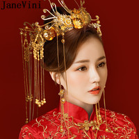 JaneVini Traditional Chinese Bride Headdress Wedding Costume Hairpin Earrings Gold Crown Floral Hairwear Bruids Haaraccessoires