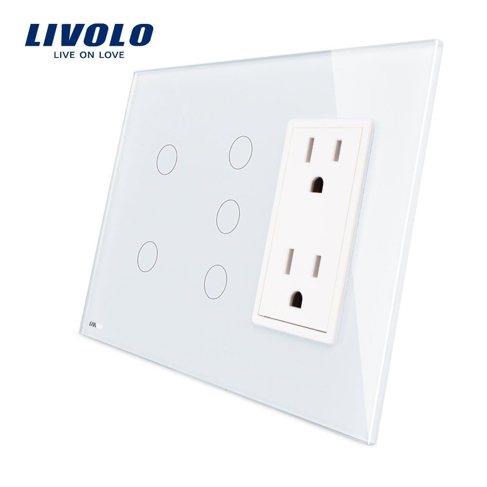 Livolo US standard Vertical, 2Gang+3Gang +US Socket(15A) , Luxury White Crystal Glass, VL-C502-11/C503-11/C5C2US-11