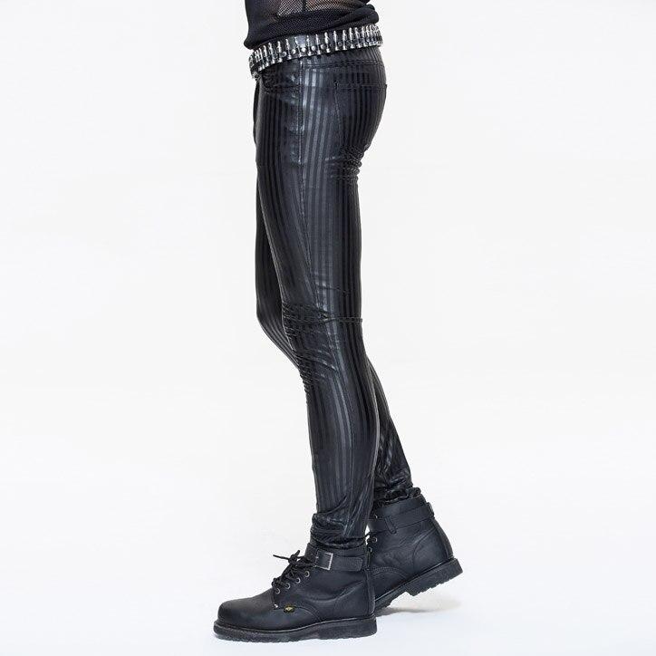 Devil Fashion Punk Men Tight Pants Steampunk Black Casual Tight Trousers Striation Skinny Pants - 2
