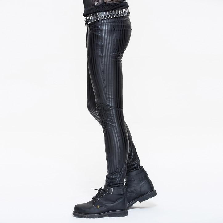 Devil модные панк мужские обтягивающие брюки в стиле стимпанк черные повседневные обтягивающие брюки в полоску обтягивающие брюки - 2