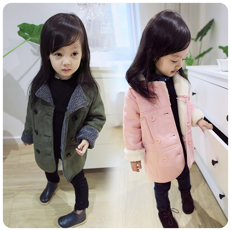 Girls' jackets 2018 fall and winter new children's wear Korean version of the fur stitching long children coat bibicola 2018 fall winter new girls long sleeved warm dress korean version of the children s leisure sweater princess party dres