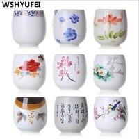 Набор чайных чашек в японском стиле Jingdezhen, набор чайных чашек для путешествий, китайский фарфоровый набор кофейных чашек, керамическая глин...