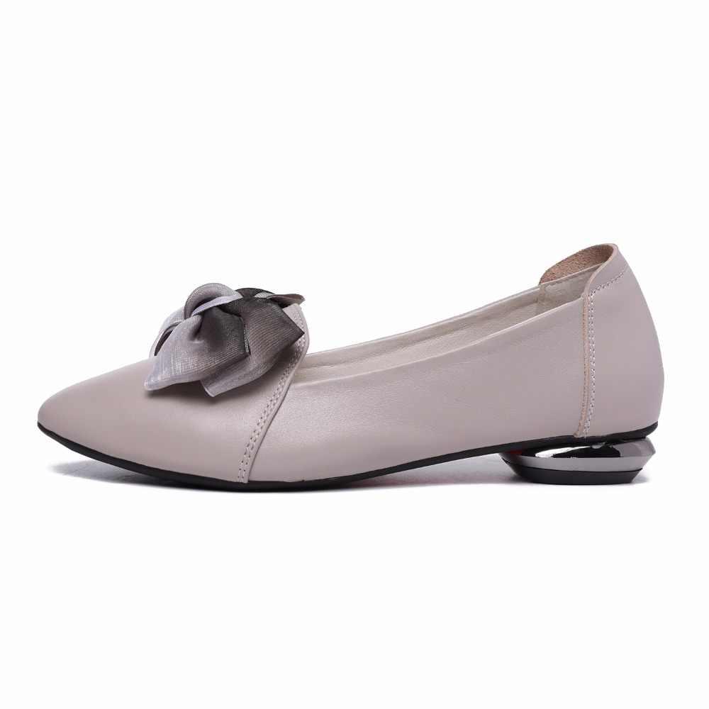 BEYARNE 2019 nuevos planos mujer moño punta puntiaguda mujeres zapatos de cuero genuino cómodos zapatos planos de gran tamaño 35-43E303
