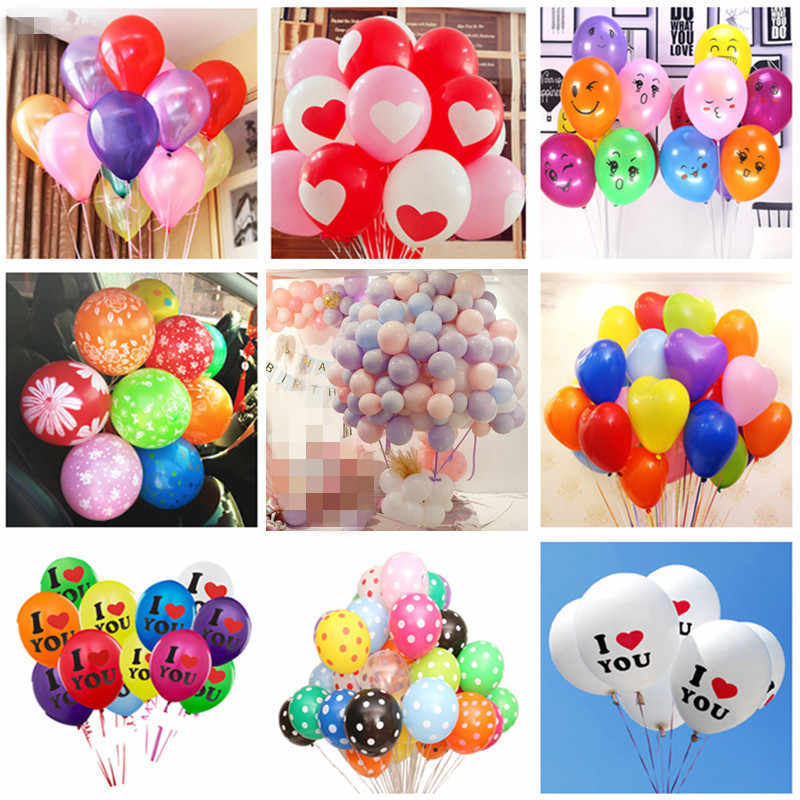 5pcs 2.2g 12 Inch Assorted Color Latex Balloons Heart Helium Air Balloons Balls Birthday Wedding Decoration Event Party Supplies