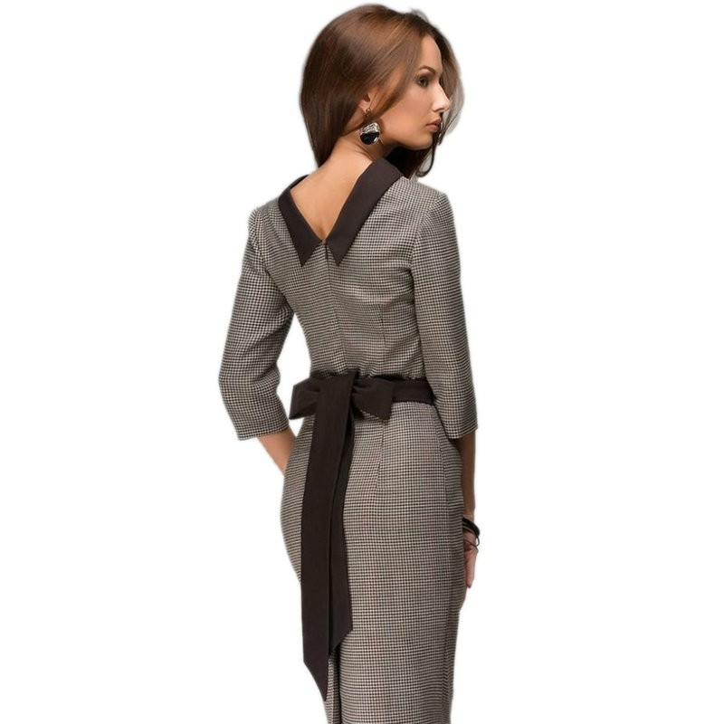Womens-elegant-Plaid-Bodycon-Dresses-New-fashion-2015-Three-Quarter-Work-OL-Broadcloth-With-Belt-Business