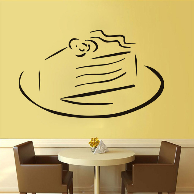 Kitchen Wall Stencil Sweet Cake On A Plate Wall Stickers Diy Vinyl ...