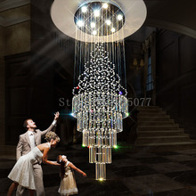 купить DHL Customize Dia1000*H3000mm villa crystal chandeliers duplex stairs hall led ceiling light hotel crystal chandeliers JF1298 дешево