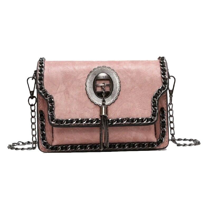 JUILE New Luxury Handbag Women bags designer retro pu leather shoulder bag handbag personality chain design ladies Messenger