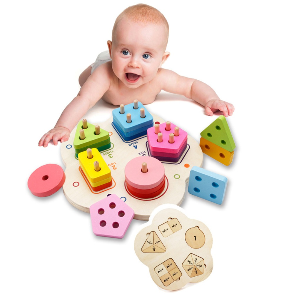 UTOYSLAND Wooden Stacking Sorting Toys Geometric Building Blocks Matching Set Educational Toys for Children wooden stacking train vehicle building blocks kids educational montessori geometric assemb matching cognitive blocks toys