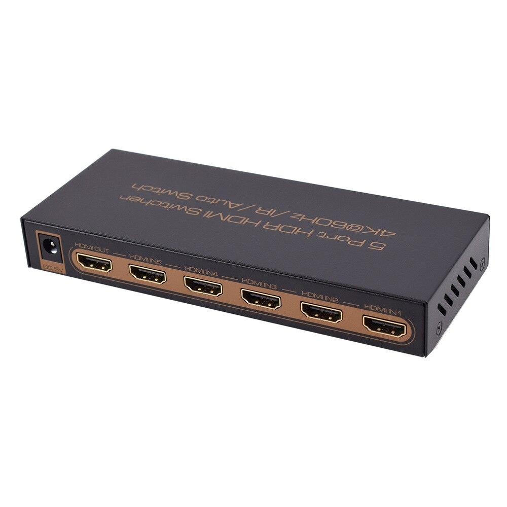 5 Port HDMI Switch Switcher HDMI Splitter HDMI Port Support 4K@60HZ Full HD1080P HDMI auto switchfor pc HDTV DVD 015M1