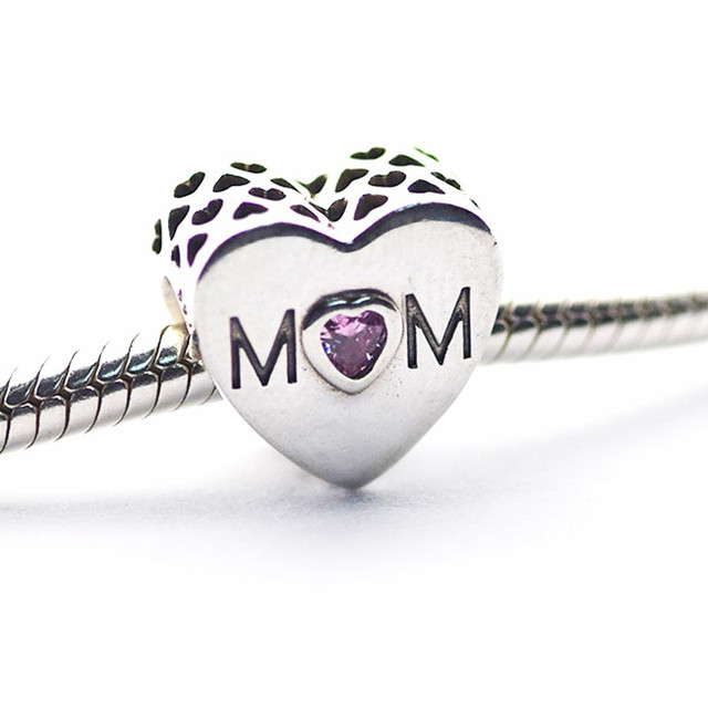 925 Sterling-Silver Beads Mother Heart Charm Fits Silver Charm Bracelets & Choke
