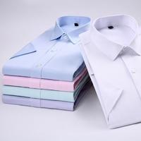 2018 Men S Dress Casual Short Sleeved Shirt Twill White Blue Pink Black Male Slim Fit
