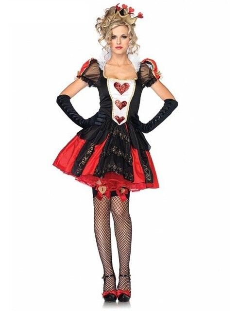 Сексуальная Взрослых Женщин Покер Красная Королева червей Костюм Алиса В Стране Чудес Платье Карнавал Партия Королева Косплей Костюмы Одежда