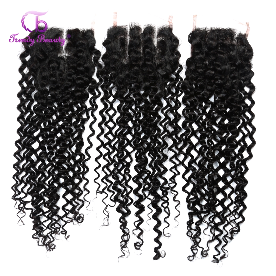 Trendy Beauty Human Hair Brazilian kinky Curly Closure 4x4 Inches Lace Hand Tied Middle/Free/Three Part Non-remy Free shipping