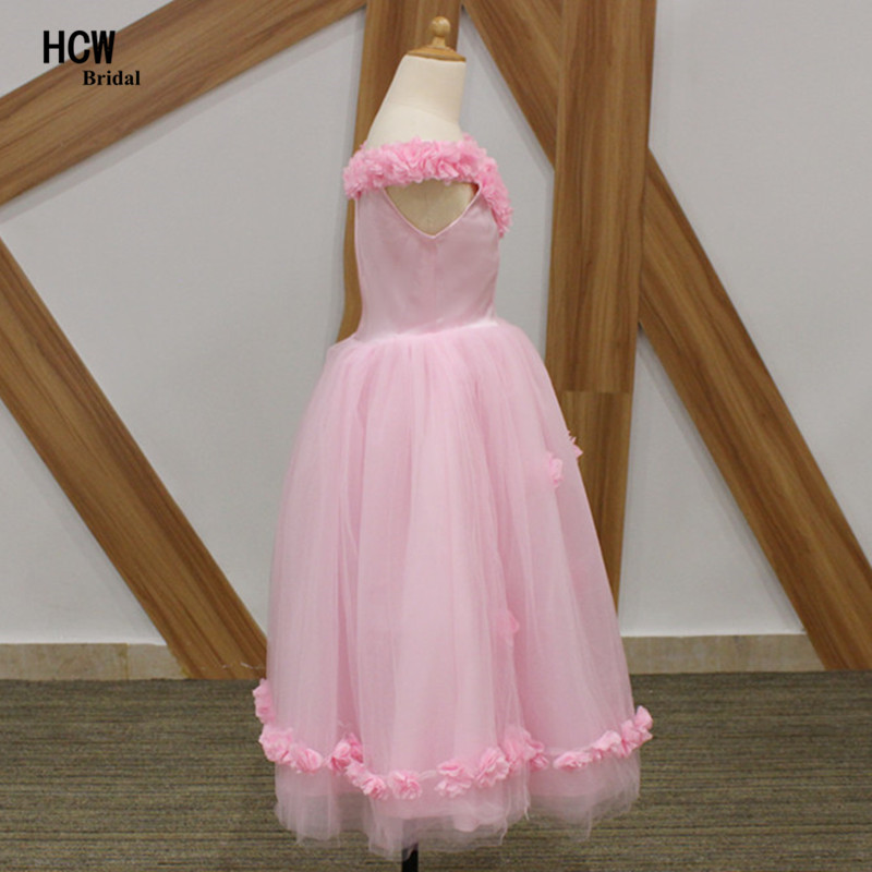 Pink Flowers Long Girl Party Gowns 2018 Boat Neck A Line Tulle ...