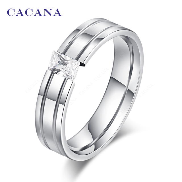 CACANA Titanium Stainless Steel Rings For Women CZ Fashion Jewelry Wholesale NO.
