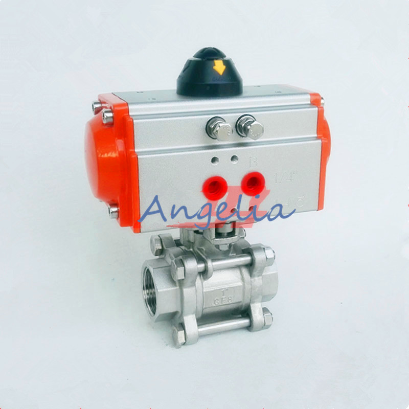 G1 DN25 Stainless Steel 304 Three-piece type Pneumatic Ball Valve Double Acting PTFE Seal Water Air Oil free shipping high quality dn25 1 stainless steel 304 double acting air actuated pneumatic ball valve actuator