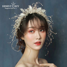 HIMSTORY Gorgeous Bridal Headbands Wedding Hair Accessories Headdress for Brides Silver Leaf with Crystals Beads Women Hairband