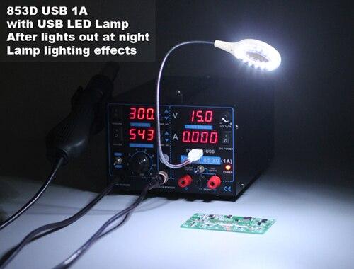 YIHUA 853D 110 V 220 V фена паяльная станция паяльник + Тепловая пушка + блок питания сварка ремонт паяльная станция светодио дный светодиодный свет