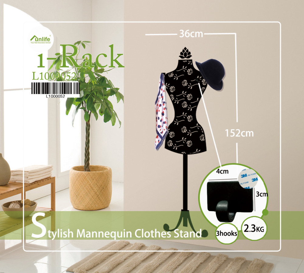 online get cheap wall sticker hanger aliexpress com alibaba group funlife 152x36cm 60x14in stylish mannequin clothes stand coat rack hanger wall sticker with 3 hooks for clothing store l1000052