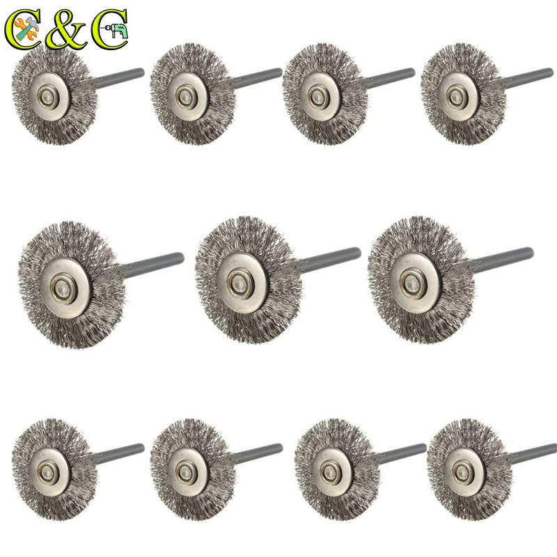 10pcs/set 22mm Stainless Steel Wire Wheel Brush Dremel Rotary Tool For Mini Drill Dremel Polishing Dremel Accessories