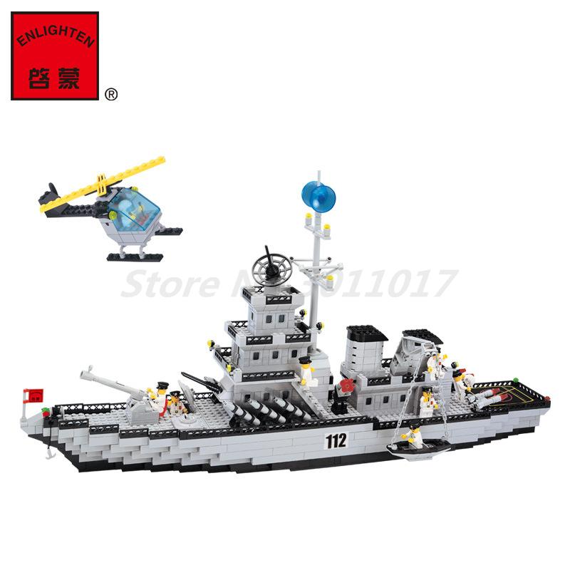 Enlighten112 Figure Military Army Battle Cruisers Ship Building Block Sets  970Pcs Bricks Educational Toys For Children Gifts