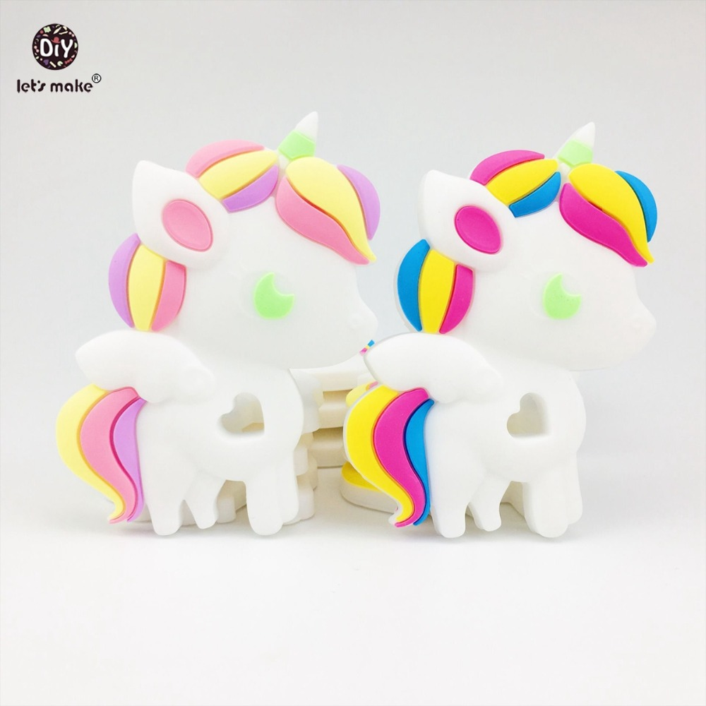 Lets Make Cute Silicone Unicorn Baby Teether 2pc Lovely Diy Nursing Teething Necklace Accessories Food Grade Silicone Teether