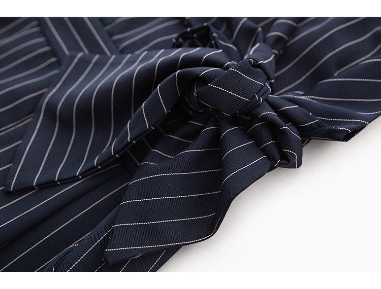 Sling Off Shoulder Sleeveless Striped Jumpsuit 2019 New Fashion V-Neck High Waist Nine Points Wide Leg Jumpsuit Summer 34