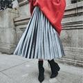 Venta caliente del otoño del resorte de Color Metálico de las mujeres falda grande swing largo plisado falda de Las Señoras elegantes de Cintura Alta Faldas de Tul XD3758