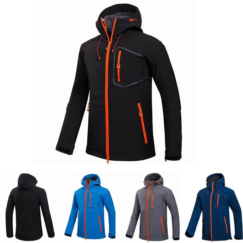 Mens Camouflage Jacket Waterproof Windproof Outdoor Sport Mountaineering Jacket Long Sleeve Hooded Soft Coat Shell Coat