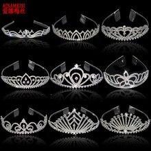 Ainameisi nova moda cristal nupcial coroa de prata chapeado pérolas strass princesa tiaras para o cabelo feminino jóias presente