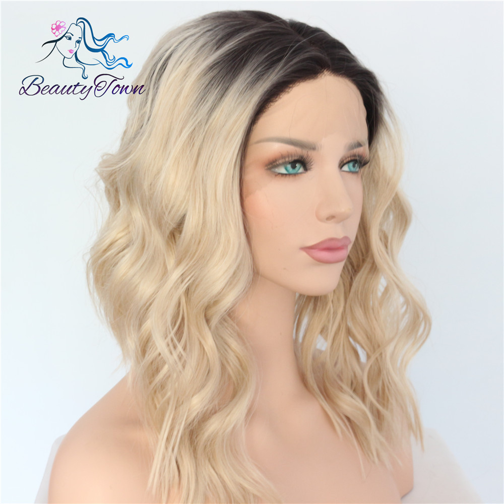BeautyTown Polaris Short Heat Resistant Hair Black Ombre Blonde Blogger Daily Makeup Synthetic Lace Front Wedding Party Wigs-in Synthetic None-Lace  Wigs from Hair Extensions & Wigs    3