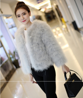 Women 2018 Real Fur Coat Genuine Ostrich Feather Fur Winter Jacket Retail / Wholesale Top Quality