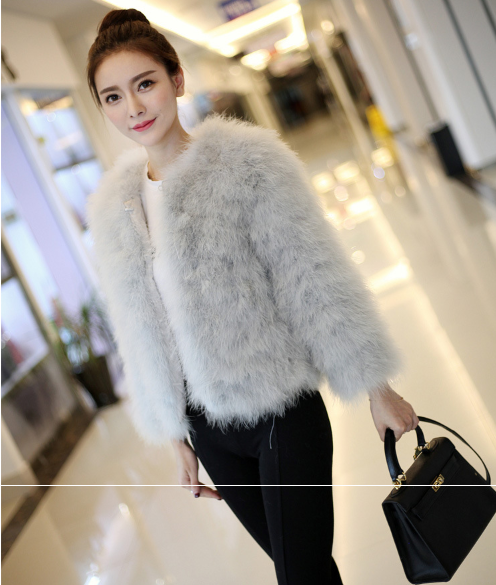 Women  Real Fur Coat Genuine Ostrich Feather Fur Winter Jacket Retail / Wholesale Top Quality
