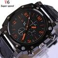 Homens Relógio de Quartzo Relógios de Luxo Da Marca Homens Design Clássico de Couro À Prova D' Água Esportes Masculino relógio de Pulso Relogio masculino Novo V0015