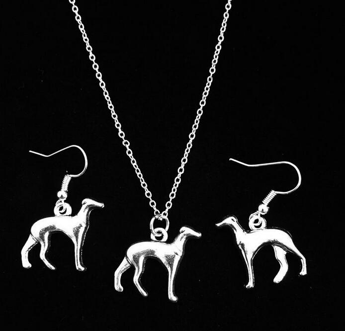 Hot Sale Jewelry Sets Antique Silver Plated Greyhound Dog Dangle Earrings For Women Dogs Pendant Necklace Set Fashion New