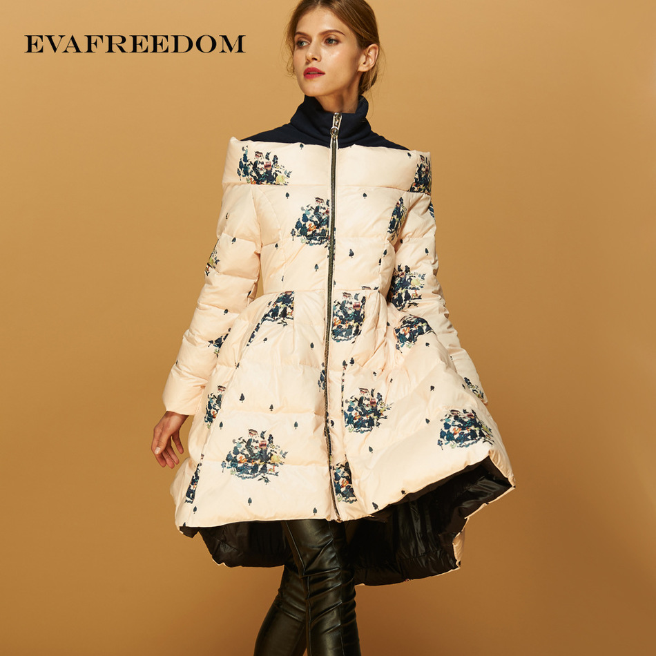 2017 New arrival slash neck big pendulum loose down coat European Printing womens fashion down Jackets UV1618