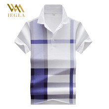 Polo Shirt Men High Quality Summer Male Short Sleeve Polos Shirts Printed Lattice Homme Men\x27s Camisa Tops M-3XL